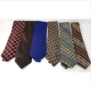 6 men's ties various brands colors and patterns